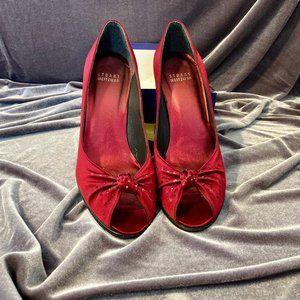 Stuart Weitzman Red Peep Toe Jeweled Heels